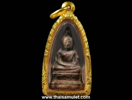 B.E.2450 Phra Chaiwat holy metal amulet in Than Soon imprint with gold case (PKR14)