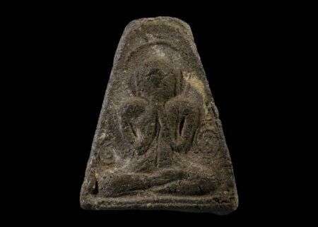 B.E.2485 Phra Pidta holy powder amulet with silver casing (PID49)