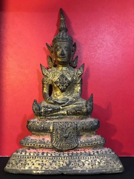 B.E.2400 Phra Rattana holy metal statue with beautiful condition (SOM153)