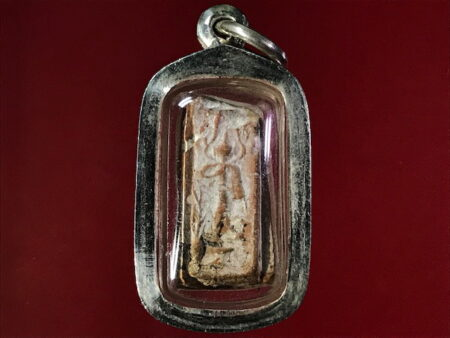 B.E.2460 Phra Leela with holy soil amulet with silver casing (SOM183)