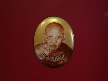 Wealth amulet B.E.2547 LP Hong locket with golden background (MON285)
