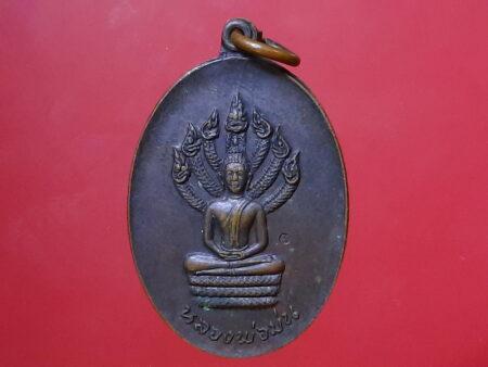 Rare amulet B.E.2519 Phra Nark Prok copper coin (SOM271)