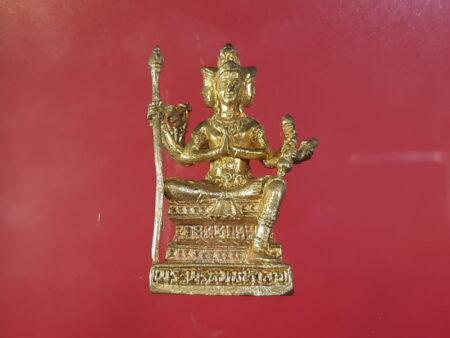 Wealth amulet B.E.2556 Phrom Maha Lap Bandan Chok brass amulet by LP Wanlop (GOD177)
