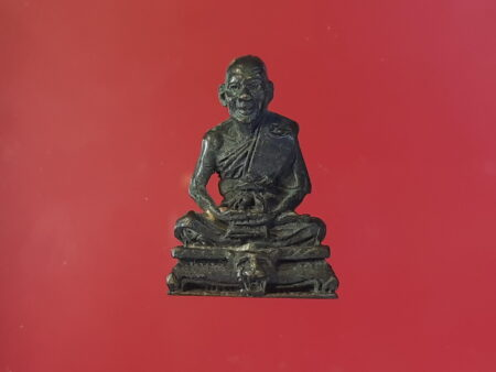 B.E.2530 LP Pern sits on tiger head brass amulet – Build bridge batch (MON378)