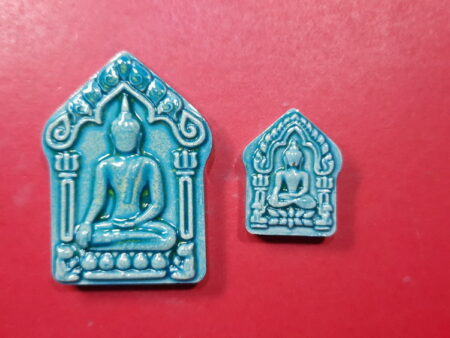 Charm amulet Set of Phra Khun Paen Kaew Manee Chot with holy gem in sky blue color (PKP85)