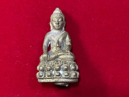 Wealth amulet B.E.2541 Phra Kring Chalong Chedi brass amulet by LP Rian (PKR84)